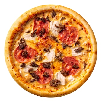 Na białym tle szynka i pizza z kurczaka