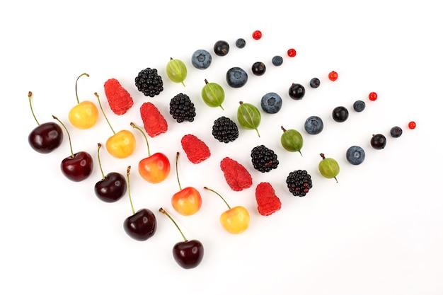 Na białym tle ułożonych jest szereg różnych soczystych jagód
