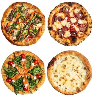Na białym tle wiele różnych kolaż projektowania menu włoskiej pizzy