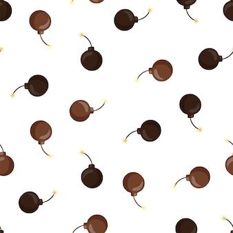 Na białym tle wzór z brązowymi kształtami bomby. białe tło. losowa grafika broni.