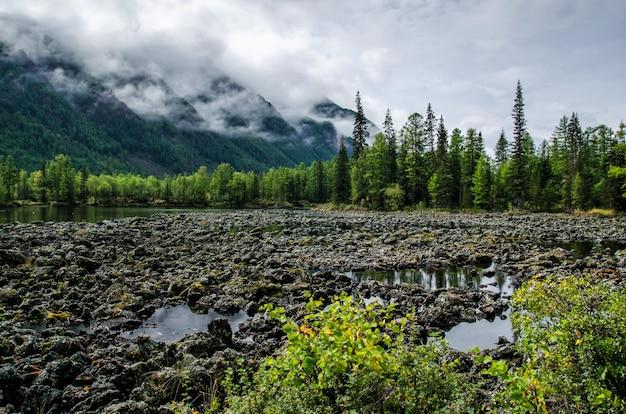 Na brzegu górskiego jeziora, kamieni i lasu. pochmurny dzień, naturalne światło