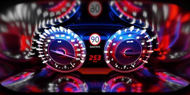 Na ilustracji 3d wskazówka prędkościomierza pokazuje maksymalną prędkość 260 km / h