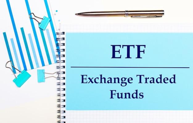 Na jasnym tle - jasnoniebieskie diagramy, spinacze i kartka papieru z napisem etf exchange traded funds. widok z góry. pomysł na biznes