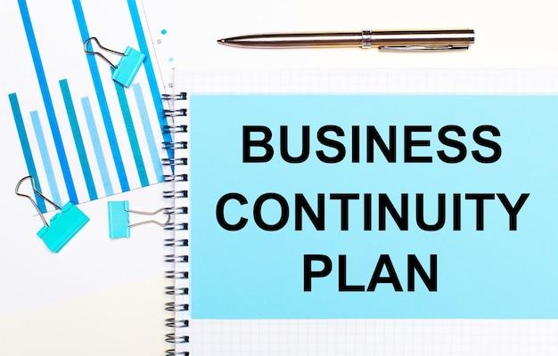 Na jasnym tle - jasnoniebieskie diagramy, spinacze i kartka z napisem plan ciągłości biznesowej