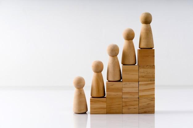 Na kostkach reprezentujących schody stoją drewniane figurki.