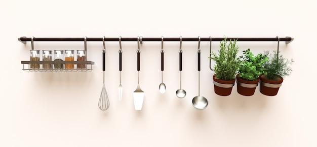 Na ścianie wiszą naczynia kuchenne, sucha masa i przyprawy na żywo