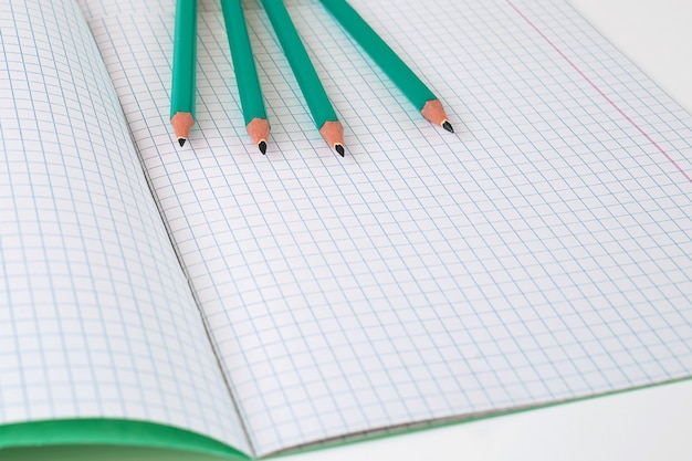 Na stole jest otwarty notatnik w klatce.