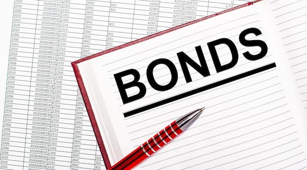 Na stole obok raportów znajduje się dziennik z tekstem obligacje