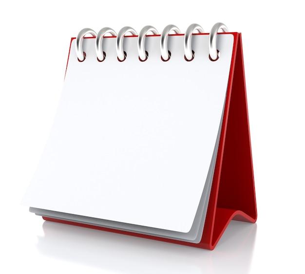 Na stole stoi biały papierowy kalendarz. na białym tle na białym tle - ilustracja 3d