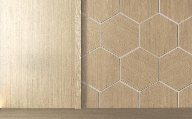 Na szafce w nowoczesnym pustym pokoju japońskim i projektować sześciokątne płytki drewniane na ścianie w stylu zen, minimalne wzory. renderowanie 3d