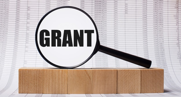 Na tle doniesień o drewnianych kostkach - lupa z napisem grant. pomysł na biznes
