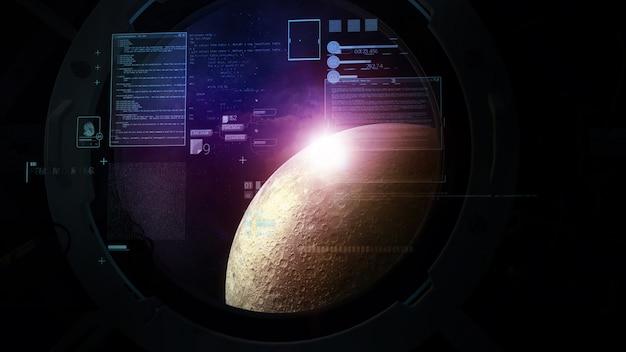 Na tle księżyca w oknie infografiki obliczeń lotu statku kosmicznego.