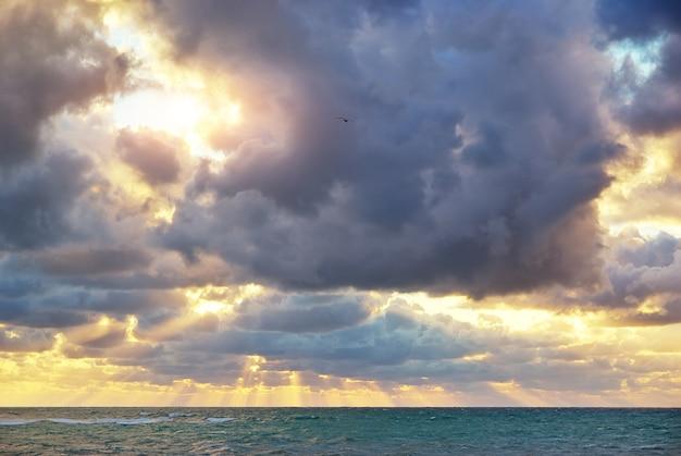 Na tle nieba na zachód słońca.
