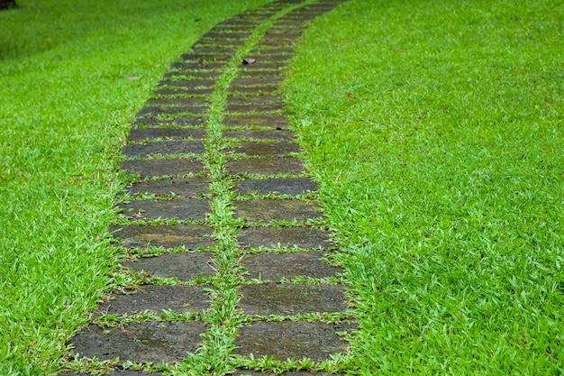 Na trawniku wyłożono chodnik z cegły lub kamienia.