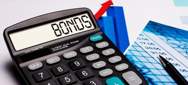 Na wyświetlaczu kalkulatora znajduje się napis bonds