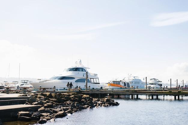 Nabrzeże jeziora waszyngton przy dobrej pogodzie. widok zacumowanych jachtów w pobliżu brzegu