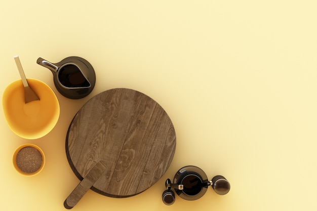 Naczynia kuchenne na żółtym tle. renderowanie 3d