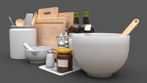 Naczynia kuchenne, olej i warzywa w puszkach w słoiku na szarym tle