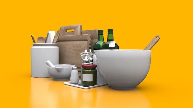 Naczynia kuchenne, olej i warzywa w puszkach w słoiku na żółtym tle. renderowania 3d.
