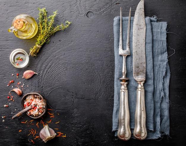 Naczynia kuchenne rocznika naczynia kuchenne widelec