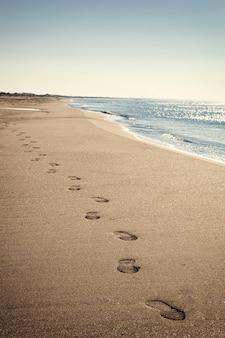 Nadmorski krajobraz z cienką plażą i błękitnym morzem.