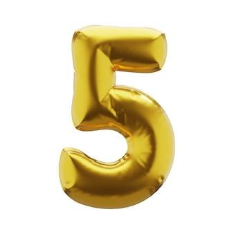 Nadmuchiwana liczba 5 pięć w złotym kolorze nadmuchiwane symbole złotego koloru dla twojego projektu