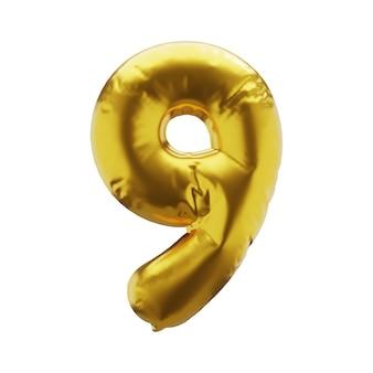Nadmuchiwana liczba 9 dziewięć w złotym kolorze nadmuchiwane symbole złotego koloru dla twojego projektu