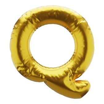 Nadmuchiwana litera q w złotym kolorze nadmuchiwane symbole złotego koloru do projektowania renderowania 3d
