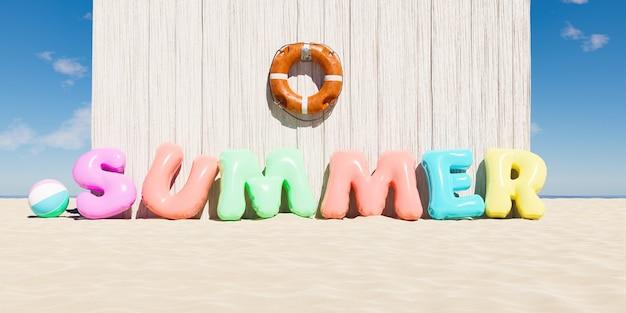 Nadmuchiwane koło do pływania i koło ratunkowe w kształcie słowa summer obok drewnianej chaty
