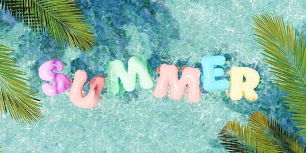 Nadmuchiwane koło do pływania w kształcie słowa summer pływające w orzeźwiającym niebieskim basenie z liśćmi palmowymi w rogach