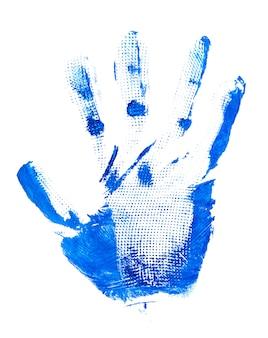 Nadruk dłoni na białym tle