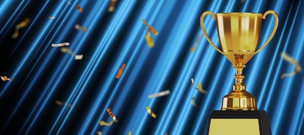 Nagroda złota trofeum na ciemnym niebieskim tle.