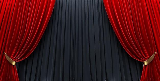 Nagrody pokazują tło z czerwonymi zasłonami otwartymi na czarną zasłonę.