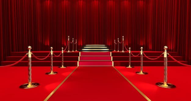 Nagrody pokazują tło z czerwonymi zasłonami otwartymi na czarnym ekranie, długi czerwony dywan między barierami linowymi