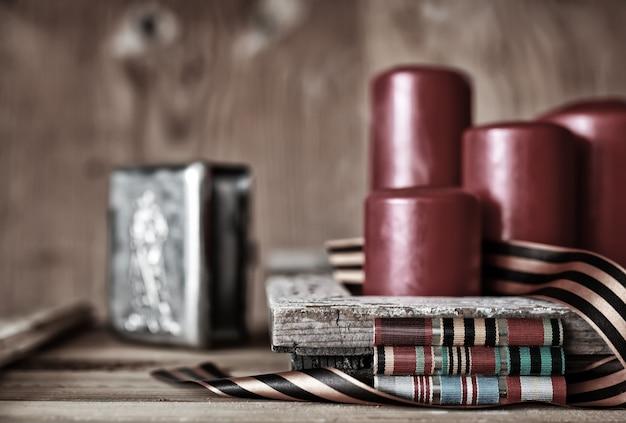 Nagrody za zasługi w ii wojnie światowej przez związek radziecki na vintage drewnianym tle
