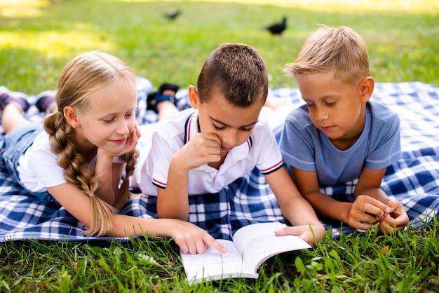Najlepsi przyjaciele czytający na kocu piknikowym