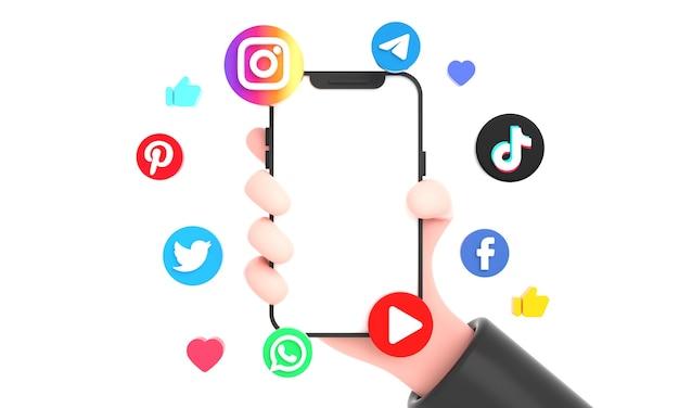 Najpopularniejsze ikony mediów społecznościowych i ręka sieci społecznościowej trzymająca makieta telefonu na białym tle