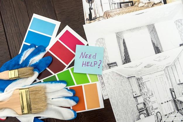 Naklejka z planem mieszkań i katalogiem kolorystycznym do remontu domu