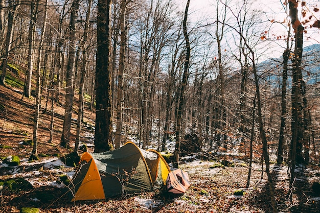 Namiot i kajak w lesie zimowym lesie w czarnogórze