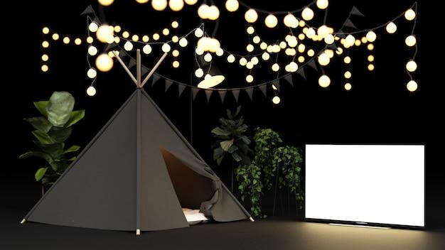 Namiot kempingowy i dekoracja świetlna z renderowaniem ekranu tv