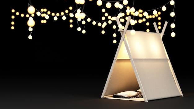 Namiot kempingowy i rendering dekoracji oświetlenia