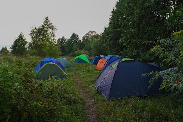Namioty turystyczne na tle letniego pola o wschodzie słońca. przygodowy styl życia. koncepcja wędrówki. aktywne wakacje weekendowe dzikiej przyrody na świeżym powietrzu.