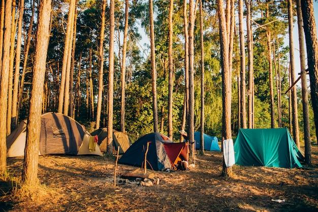 Namioty turystyczne w pobliżu rzeki pod słońcem