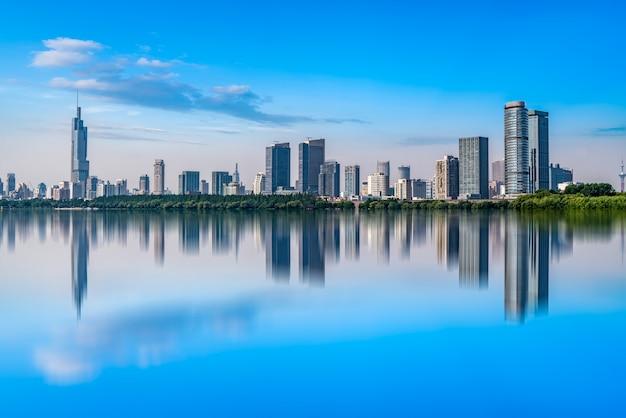 Nanjing lake park and urban architecture landscape skyline