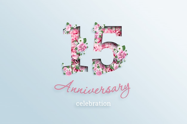 Napis 15 numer i rocznica święto textis kwiaty, na świetle