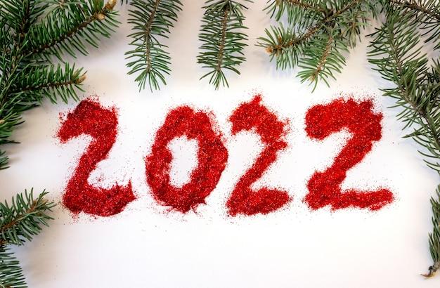 Napis 2022 z gałęzi świerkowych, szyszki na białym tle.