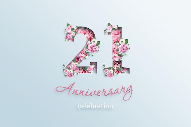 Napis 21 numer i rocznica święto textis kwiaty, na świetle