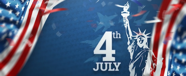 Napis 4 lipca na niebieskim tle