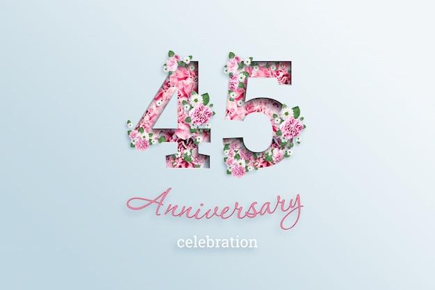 Napis 45 liczba i rocznica święto textis kwiaty, na świetle.