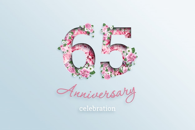 Napis 65 numer i rocznica święto textis kwiaty, na świetle
